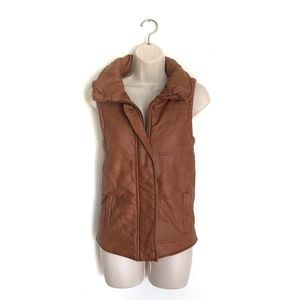 C Luce Tan Faux Leather Vest